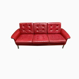 Red Leather Sofa, 1950s