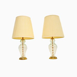 Vintage Brass & Glass Table Lamps, Set of 2