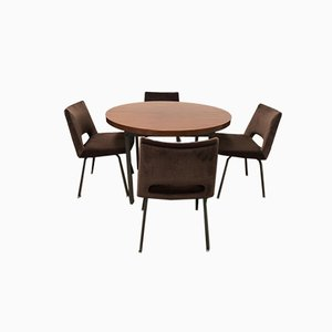 Round Dining Table and 4 Chairs by Georges Frydman for Efa, 1965, Set of 5