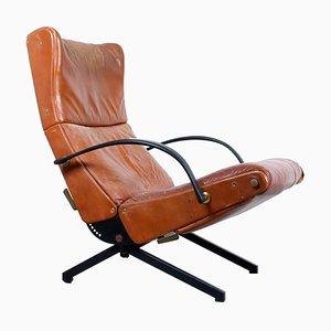 Italian Leather P 40 Lounge Chair by Osvaldo Borsani for Tecno Italy, 1960s