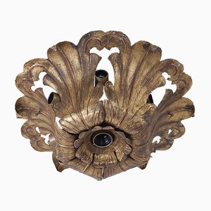 Wrought Iron Flower Ceiling Lamp, 1940s
