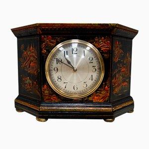 Art Deco Chinoiserie Black Mantel Clock