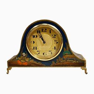 Art Deco Chinoiserie Blue Mantel Clock