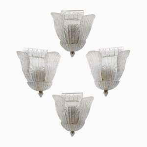 Italian Murano Glass & Brass Wall Light by Novaresi