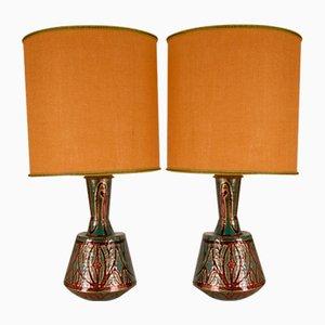 Art Deco Enamel & Copper Table Lamps, Set of 2