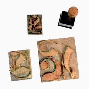 Art Nouveau Letter H, K & L Stamps from Schwabacher, Set of 4