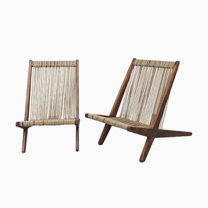 Cord and Wood Chairs in the Style of Poul Kjaerholm and Jørgen Høj, Set of 2