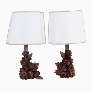 Artisanal Table Lamps with Carved Wooden Elements, 1800s, Set of 2