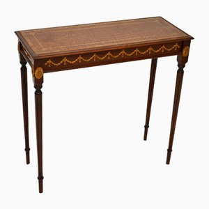 Antique Mahogany Leather Side Table