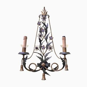Vintage Iron and Crystal Sconces, Set of 2