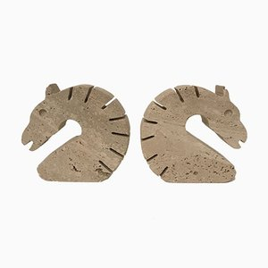 Horse Bookends in Travertine from Fratelli Mannelli, Set of 2