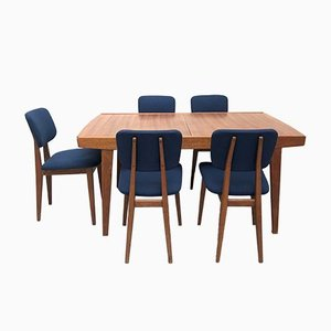 Extendable Dining Table and 5 Chairs by Pierre Guariche for Mai, Set of 6
