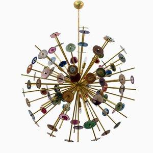 Large Italian Sputnik Chandelier in Agate and Brass