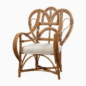 Rattan Peacock Heart Chair with Boucle Wool Seat, 1970s
