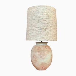 Large German Ceramic & Silk Table Lamp, 1960s