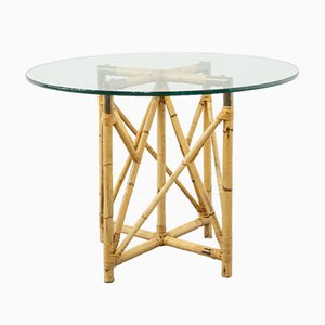 Mid-Century Table in Bamboo and Glass