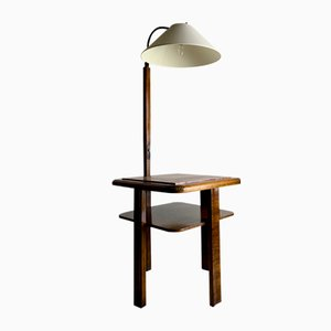 Vintage Marble Floor Lamp With Side Table, 1940s