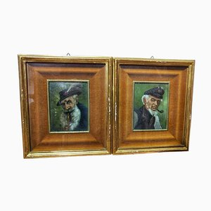 Portraits, Oil on Copper, 19th Century, Set of 2