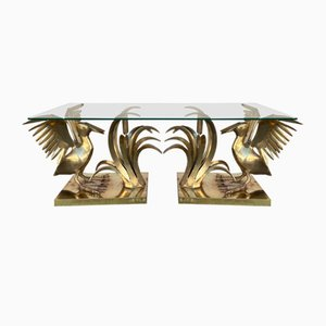 French Bronze & Reed Coffee Table by Christian Techoueyres, 1970s