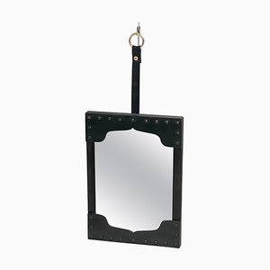 French Black Leather Wall Mirror in Black Leather in the Style of Jacques Adnet, 1950