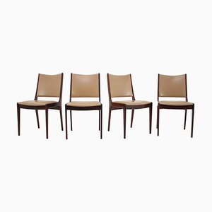 Teak & Leather Dining Chairs from Johannes Andersen, 1960s, Set of 4