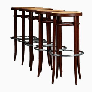 Brown Bentwood 204 RH Bar Stools from Thonet