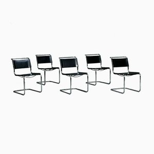 Black Leather S33 Armchair from Thonet