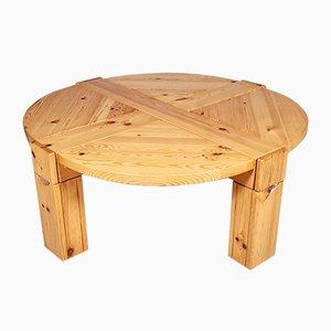 Tavolino da caffè in legno di pino massiccio, anni '70