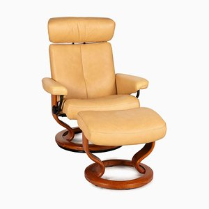 Beige Leather Stressless Orion Armchair