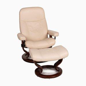 Cream Leather Stressless Armchair, 1941