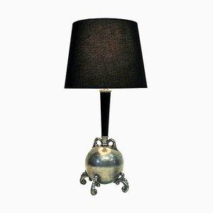 Swedish Tin and Wood Table Lamp, 1930s