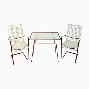 Swedish Vintage Garden Set with Table and Lounge Chairs from Grythyttan Stålmöbler, 1950s