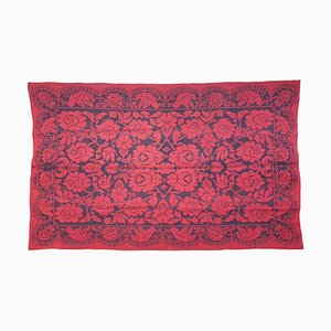 Romanian Handwoven Carpet with Red Ground