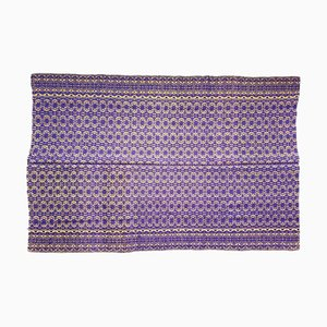 Romanian Floral Rug Handwoven in Wool with Purple & Yellow Background