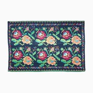 Vintage Romanian Carpet with Delicate Flowers