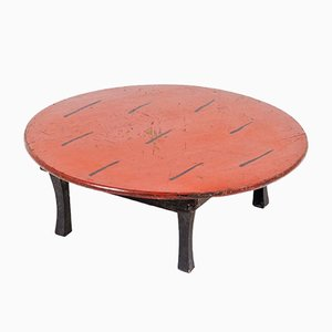 Traditional Japanese Chabudai Short Leg Folding Tea Table with Original Red Lacquered Japanned Top