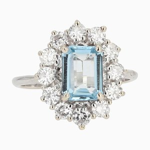 French Aquamarine Diamond 18 Karat White Gold Daisy Ring, 1960s