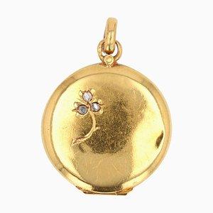 French Diamond 18 Karat Yellow Gold Medallion, 1900s