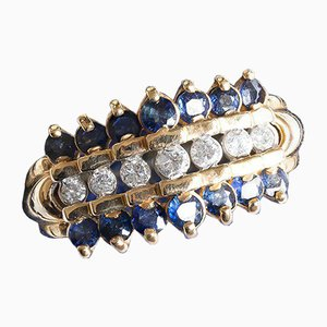 Vintage 14k Gold Ring with Sapphires and Diamonds, 1950s