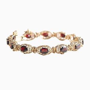 Vintage 8k Gold Bracelet with Garnets, 1960s