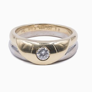 Vintage 2-Tone 14k Gold Ring with Central 0.23 ct Diamond, 1980s