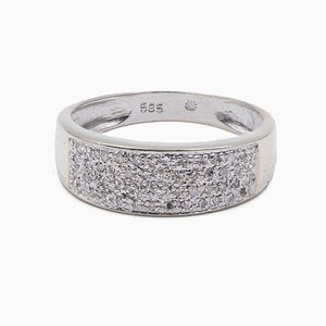 Vintage Ring in 14k White Gold with Pavé Diamonds, 1980s