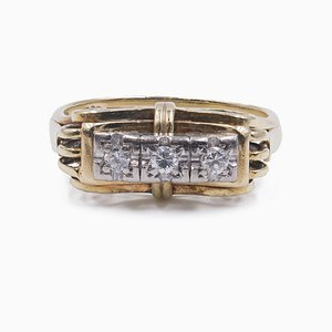 Vintage 14k Yellow Gold Ring with Diamond 0.15 ct, 1940s