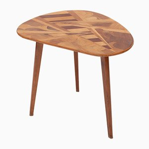 Kidney-Shaped Table with inlays of Various Woods, 1950s