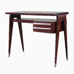 Small Italian Mahogany and Black Glass Minimalist Desk from Dassi, 1950s