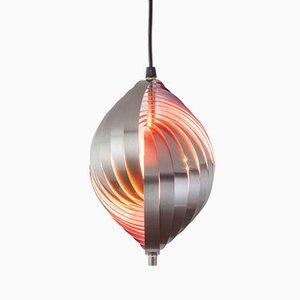 Lámpara colgante Twirling vintage de aluminio de Henri Mathieu, años 70