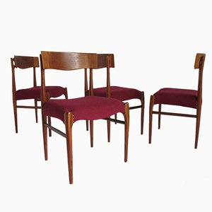 Vintage Danish Rosewood and Wool Dining Chairs, Set of 4