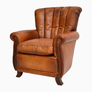 Antique French Style Leather Club Armchair