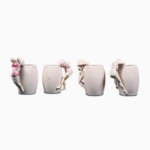 Vintage Japanese Decorative Ceramic Barrel Mugs with Female Figures, Set of 4