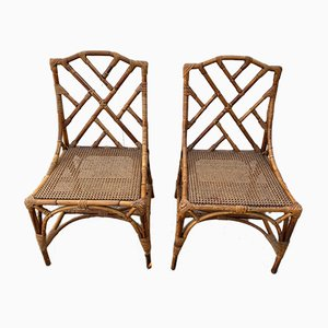 Vintage Rattan Cane Chairs, 1970s, Set of 2